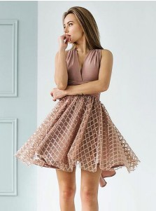 A-Line V-Neck Blush Satin Short Homecoming Party Dress with Lace
