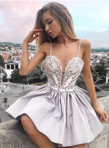 A-Line Spaghetti Straps Tiered Grey Homecoming Dress with Appliques