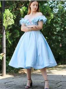 A-Line Off-the-Shoulder Blue Satin Homecoming Dress with Ruffles