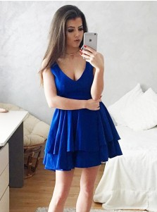 A-Line Scoop Sleeveless Blue Tiered Satin Homecoming Party Dress