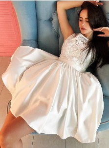 A-Line Round Neck White Satin Homecoming Party Dress with Lace