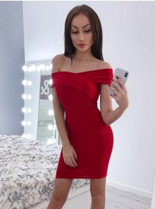 Sheath Off-the-Shoulder Red Satin Homecoming Party Dress