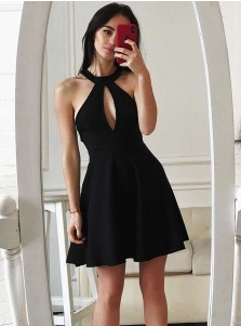 A-Line Round Neck Black Homecoming Party Dress with Keyhole