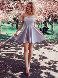 A-Line Strapless Grey Satin Short Homecoming Party Dress