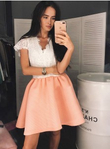 A-Line V-Neck Orange Cap Sleeves Homecoming Party Dress with Lace