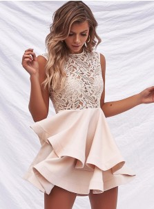 A-Line Round Neck Light Tiered Pink Satin Homecoming Dress with Lace