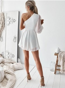 A-Line One Shoulder Cut Out White Homecoming Dress