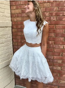 Two Piece Jewel Short White Lace Homecoming Party Dress with Pockets