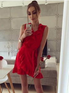 A-Line V-Neck Short Red Satin Homecoming Party Dress with Ruffles