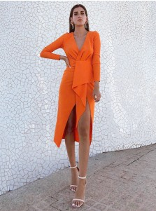 Sheath V-Neck Orange Satin Cocktail Party Dress with Sleeves