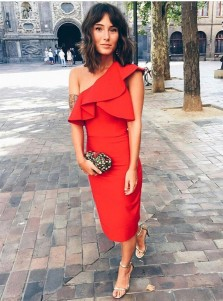 Sheath One Shoulder Mid-Calf Red Satin Cocktail Dress with Ruffles
