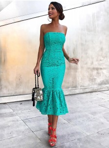 Elegant Mermaid Strapless Tea Length Hunter Lace Cocktail Party Dress