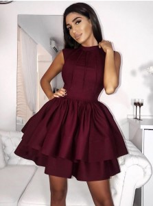 A-Line Jewel Sleeveless Tiered Burgundy Short Satin Homecoming Dress