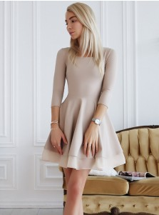 A-Line Round Neck Light Grey Satin Homecoming Dress with Sleeves