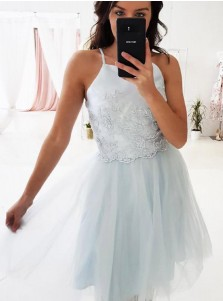 A-Line Square Neck Light Blue Tulle Homecoming Dresses with Appliques