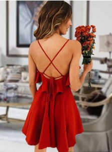 A-line Spaghetti Straps Criss-Cross Short Red Homecoming Dress