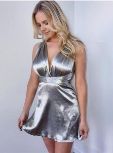 A-line Deep V-Neck Criss-cross Straps Silver Homecoming Dress