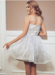 A-Line Strapless Short Organza Homecoming Party Dress with Appliques