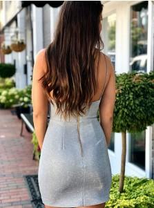 Sheath Spaghetti Straps Silver Sleeveless Short Homecoming Party Dress