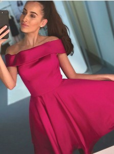 A-Line Off-the-Shoulder Above Knee Water Melon Satin Homecoming Dress