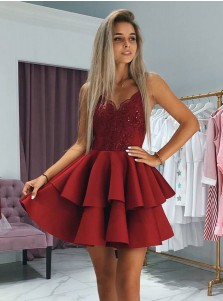 A-Line V-Neck Red Satin Homecoming Dress with Appliques Beading