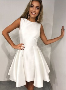 A-Line Round Neck Pleated White Satin Homecoming Party Dress