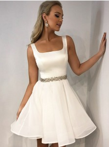 A-Line Square Neck White Tulle Homecoming Party Dress with Rhinestones