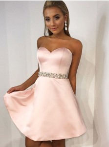 A-Line Sweetheart Pink Satin Homecoming Dress with Crystal Pearls