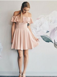 A-Line Off-the-Shoulder Pink Short Chiffon Homecoming Dress with Ruffles