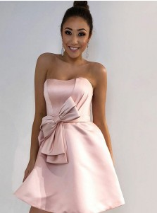 A-Line Strapless Short Pink Satin Homecoming Dress with Bowknot