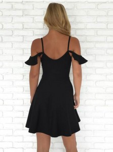 A-Line Cold Shoulder Short Black Homecoming Dress
