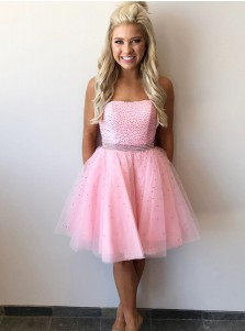 Glister A-line Strapless Knee Length Pink Tulle Homecoming Dress