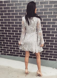 A-Line High Neck Short Grey Lace Homecoming Dress with Long Sleeves