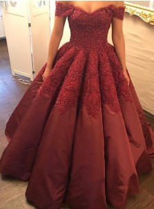 Ball Gown Off-the-Shoulder Maroon Quinceanera Dress with Appliques