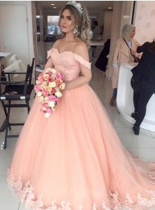 Ball Gown Off-the-Shoulder Sweep Train Pink Tulle Appliques Quinceanera Dress
