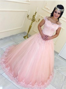 Ball Gown Off-the-Shoulder Pink Tulle Appliques Quinceanera Dress
