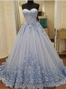 Ball Gown Sweetheart Floor-Length Blue Tulle Appliques Quinceanera Dress