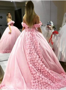 Ball Gown Off-the-Shoulder Pink Sequined Quinceanera Dress with Flowers