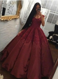 Ball Gown Square Neck Maroon Satin Quinceanera Dress with Appliques