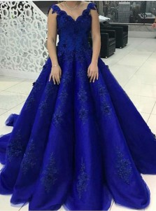 Ball Gown Scalloped-Edge Royal Blue Tulle Appliques Quinceanera Dress