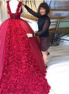 Ball Gown Straps Burgundy Tulle Beaded Quinceanera Dress with Flowers