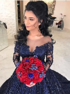Ball Gown Bateau Long Sleeves Dark Blue Tulle Beaded Quinceanera Dress