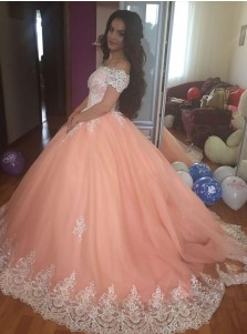 Ball Gown Off-the-Shoulder Peach Tulle Appliques Quinceanera Dress