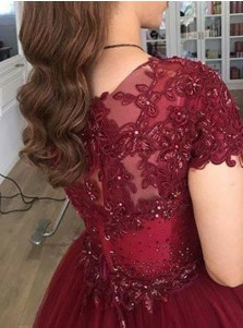 Ball Gown V-Neck Short Sleeves Burgundy Tulle Appliques Quinceanera Dress