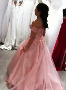 Ball Gown Off-the-Shoulder Pink Tulle Quinceanera Dress with Appliques