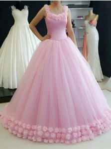 Ball Gown Straps Sweep Train Pink Tulle Quinceanera Dress with Flowers