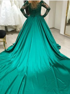 Ball Gown Off Shoulder Hunter Green Quinceanera Dress with Appliques Sleeves