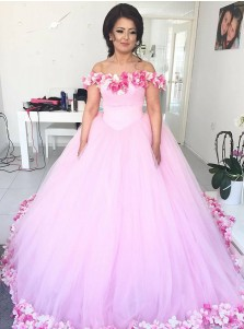 Ball Gown Off-the-Shoulder Pink Tulle Quinceanera Dress with Flowers