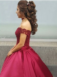 Ball Gown Off-the-Shoulder Dark Red Satin Quinceanera Dress with Lace