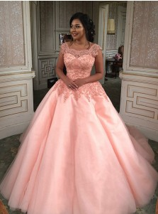 Ball Gown Square Neck Pearl Pink Tulle Quinceanera Dress with Appliques